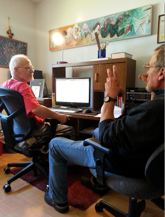 Alec Clayton and John Knold working on Bluebird Song